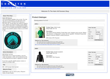 Online shop example screenshot
